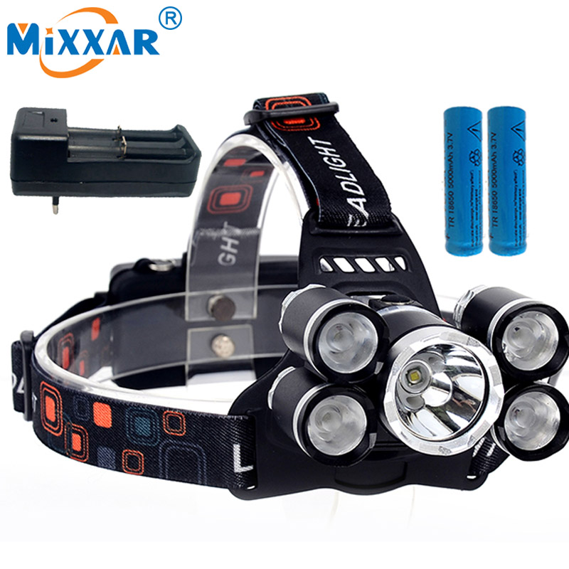 EZK30 15000LM Led Headlight T6 4Q5 Headlamps Head Lamp Lantern Flashlight Head Fishing Camping light Torch+18650 Battery +Charge