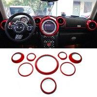 Barato 8 Uds ABS frontal interior Centro de salpicadero ventilación altavoz Gear Shift circular Ring Copper Mini