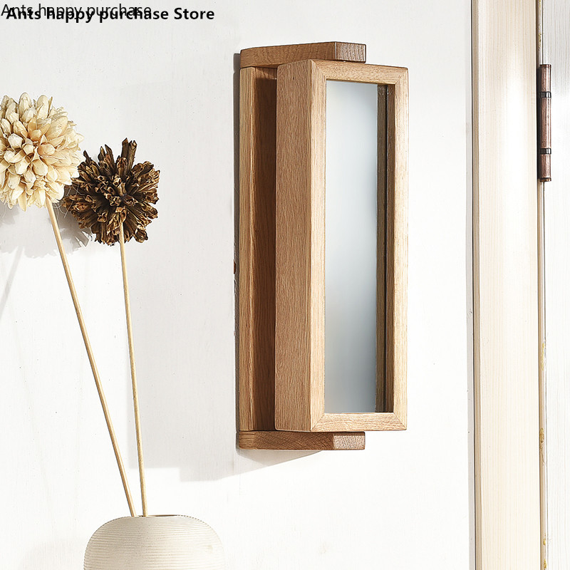 Rotate 360 degrees Solid wood mirror box hook Porch oak hanger Contracted wall hanging Creative mirror box Key hooks-in Storage Holders & Racks from Home & Garden    1