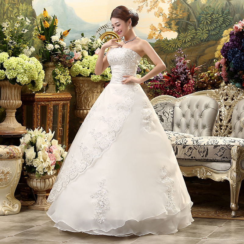Cheap Plus Size Ball Gown Wedding Dresses: Fansmile Cheap Lace Up Strapless Wedding Dress 2018 Robe