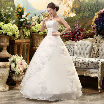 Fansmile Cheap Lace Up Strapless Wedding Dress 2020 Robe de Mariee Vintage Vestidos Plus Size Ball Gown Free Shipping FSM-042F