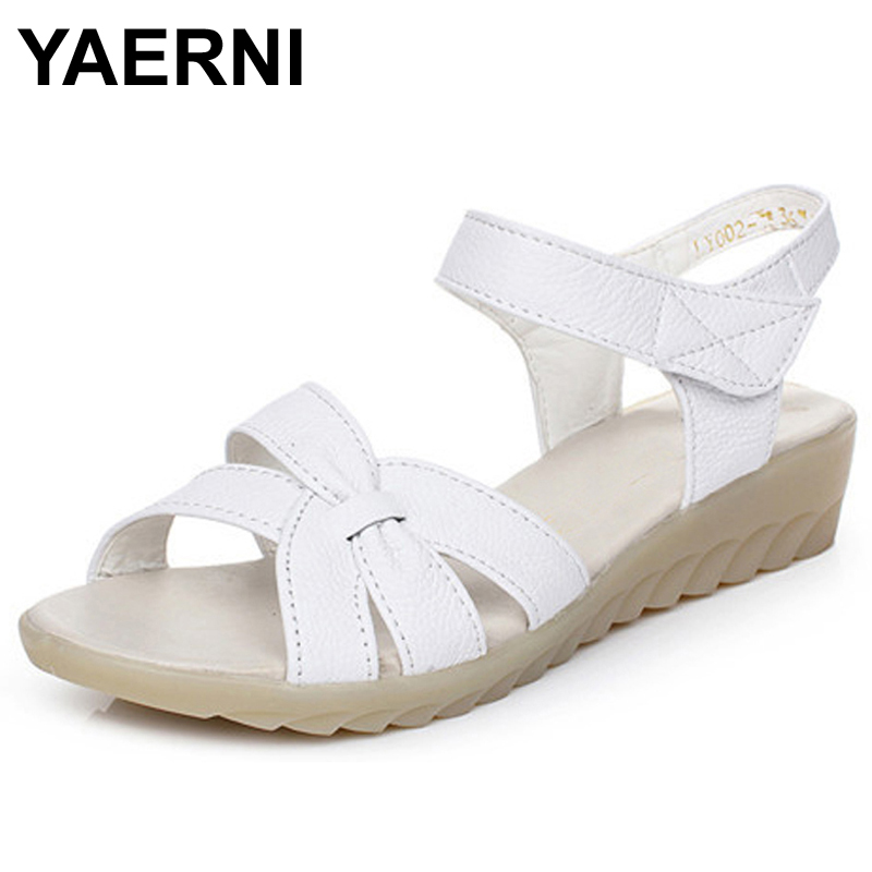Plus size 32 43 flat summer sandals for women mother shoes genuine leather nurse shoes flat