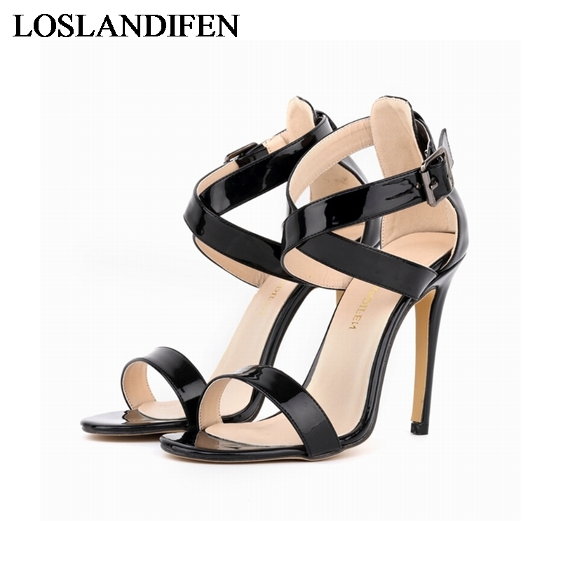2018 New Design Fashion Ankle Strap Patent Leather Thin High Heel Women Shoes Sexy Sandals Zapatos Mujer NLK C0034 in High Heels from Shoes