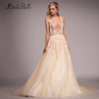 Modabelle Backless Sexy Prom Dresses Pearls Champagne Tulle Deep V Neck Long Lace Evening Dress Formal