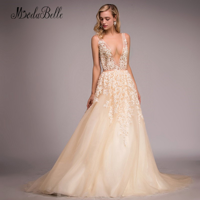 f5ae679b63d modabelle Backless Sexy Prom Dresses Pearls Champagne Tulle Deep V Neck  Long Lace Evening Dress Formal Women Vestidos Gala 2018