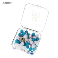 ISHOW DIY Material Box With Natural Stone Beads Elastic Strings Bracelet Alloy Accessories For Making Skull
