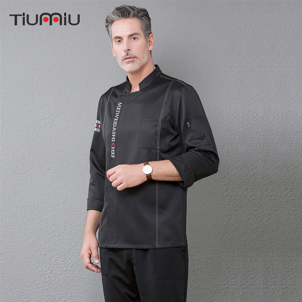 Adjustable Long Sleeve Chef Jacket Top Restaurant Food Service Cooking Kitchen Hotel Waiter Cafe Bakery Work Uniforms Overalls