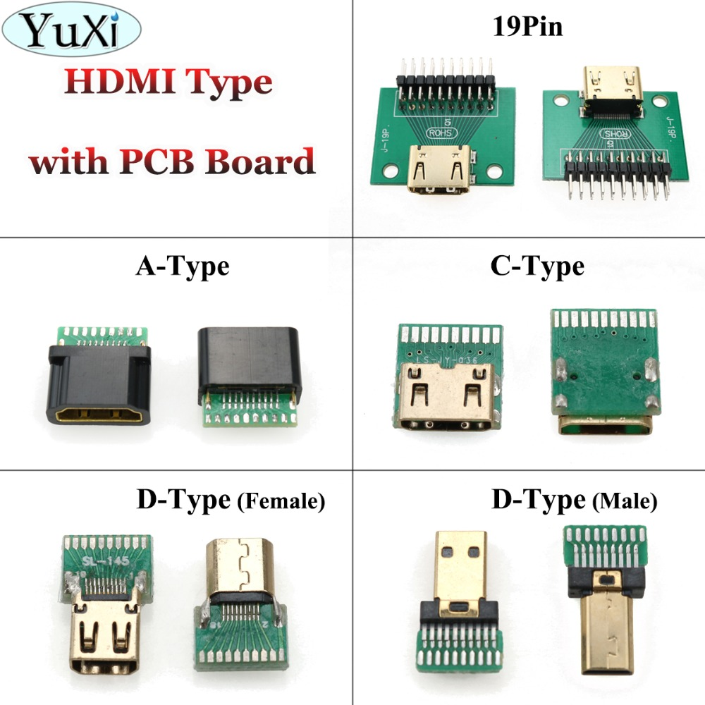 YuXi HDMI C Type / A Type / D Type 19Pin Female Connector Mini Hdmi Female Socket Test Board With PCB Board 19 Pin
