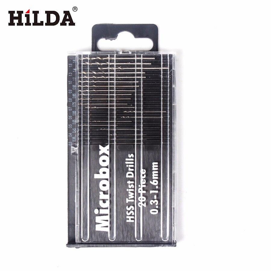 HILDA 20Pcs Mini HSS Micro High Speed Steel Twist Drill Bit Set Model Craft Repair Parts 0.3mm-1.6mm 13pcs lot hss high speed steel drill bit set 1 4 hex shank 1 5 6 5mm free shipping hss twist drill bits set for power tools