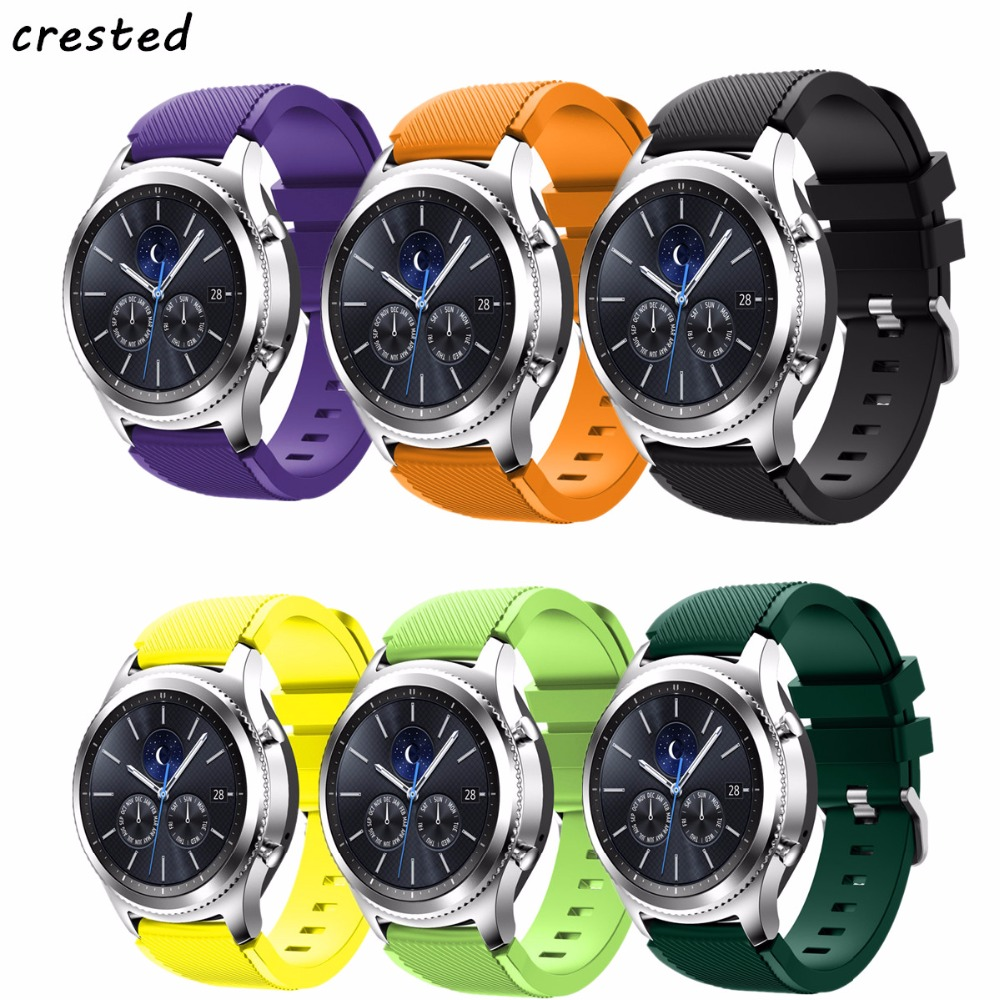 CRESTED 22mm sport strap for Samsung Gear S3 Frontier/classic band rubber smartwatch wristband bracelet watch replacement band 2016 silicone rubber watch band for samsung galaxy gear s2 sm r720 replacement smartwatch bands strap bracelet with patterns
