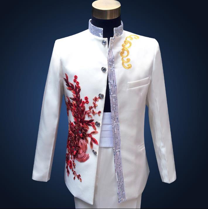 Блёстки Стенд воротник торжественное платье самые последние модели брюк для костюма костюм мужские вышитые цветы китайский туника свадебн