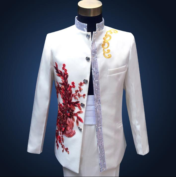 Sequins Stand Collar Formal Dress Latest Coat Pant Designs Suit Men Embroidered Flowers Chinese Tunic  Wedding Suits For Men's