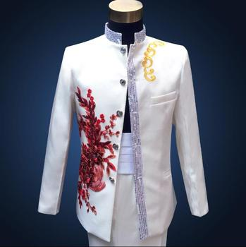 Sequins stand collar formal dress latest coat pant designs suit men embroidered flowers chinese tunic  wedding suits for men's tian qiong mens black wool suits latest coat pant designs chinese style stand collar slim fit groom wedding suit formal wear