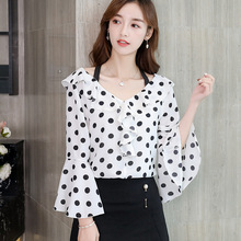 цена на 2019 Women's Shirt Polka Dot Printed Flare Sleeve  V collar office chiffon blouse Ruffle Spliced fashion wavee point Lady blouse