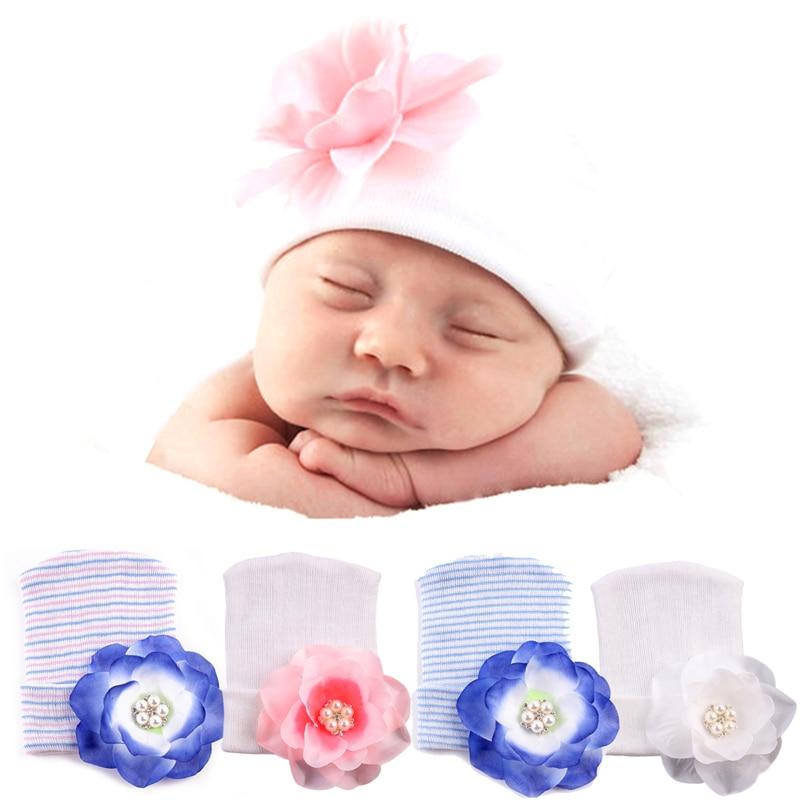 New 1Pc Cute Newborn Baby Infant Girl Toddler 3D Flower Soft Hospital Cap Beanie Hat