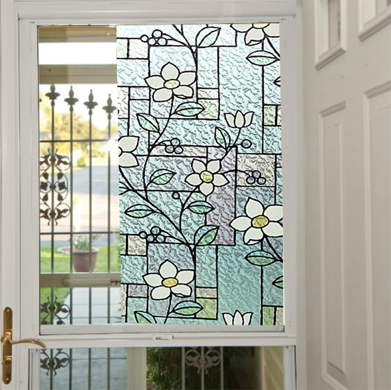 elegant colourful 2d printed static cling window film stained glass paper decorative frosted vinyl wholesale price bz95 y07in decorative films from home