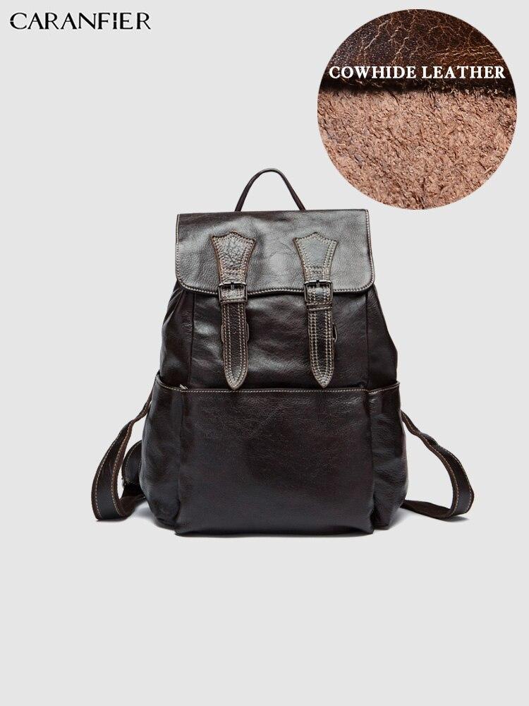 CARANFIER メンズバックパック本物の牛革大容量スクールバッグヴィンテージラップトップ旅行固体女性のバックパック Mochila Masculina  グループ上の スーツケース & バッグ からの バックパック の中 1