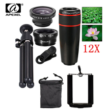 Promo offer APEXEL 5in1 12X Zoom Camera Telephoto Lens Phone Telescope 3in1 Clip on Lens Kit Wide Angle Fish Eye Macro for iPhone Samsung