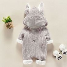 UK Canis Toddler Baby Boys Girls Rabbit Ears Hooded Romper Jumpsuit Outfits Set