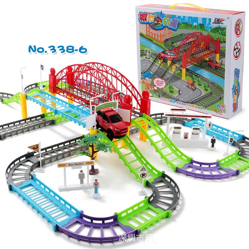 diy racing road electric train track car bridge railway racing track toy highway overpass. Black Bedroom Furniture Sets. Home Design Ideas