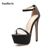 Sexy High Heel Platform Sandals 2019 Summer Stripper Shoes Party Pumps Ankle Strap Open Toe Ankle-Strap Women