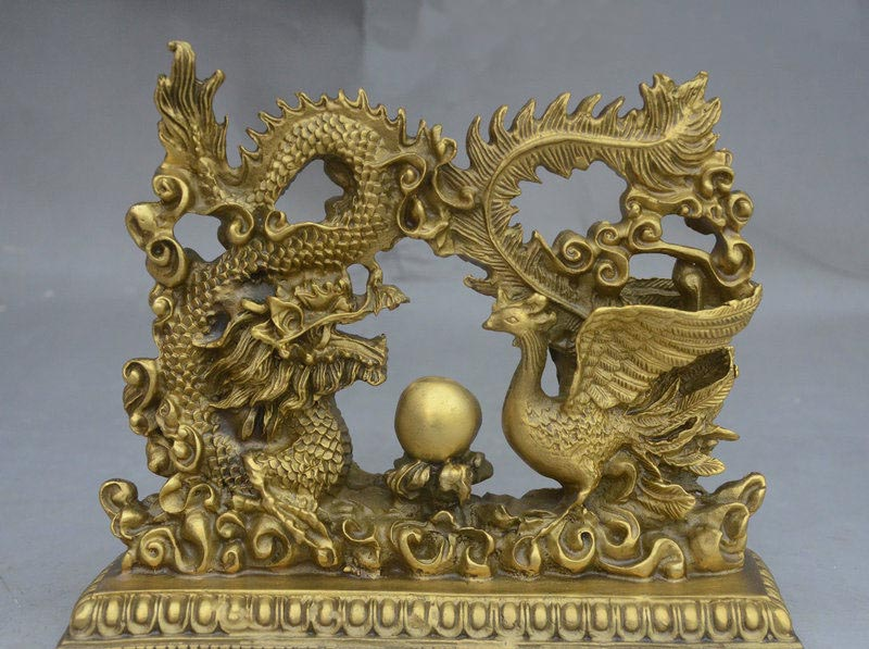 8 Chinese FengShui Pure Brass Auspicious Flying Dragon Phoenix Pray Ball Statue