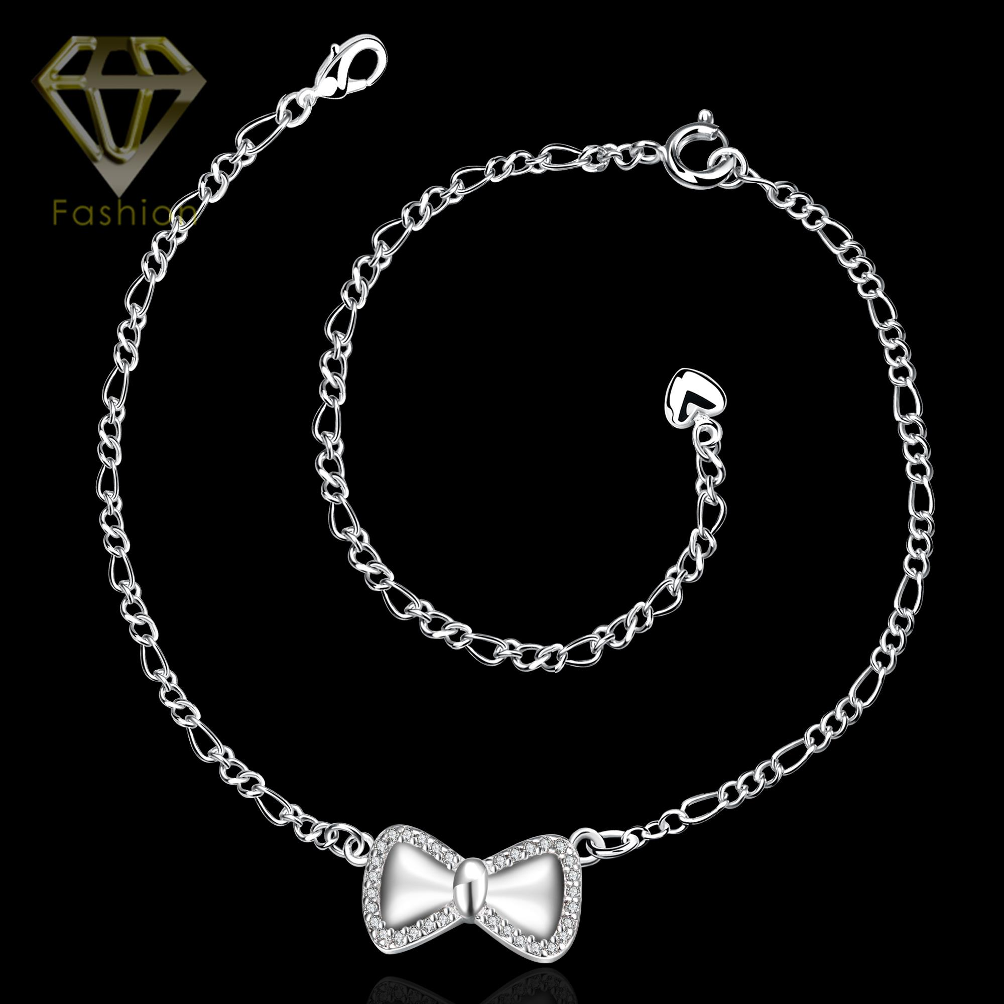 with cubic row tow zirconia amazon dp bracelet dangling stainless anklet com steel jewelry