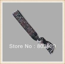 "Carvão elástico Glitter Cabelo Ribbon Ties 5/8 ""Trecho Metallic Velvet Ribbon Laço de Cabelo Laço de Cabelo Das Mulheres"