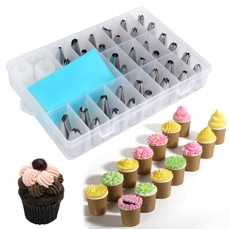 36pcs Cake Nozzles Bakeware Set Stainless Steel Pastry Nozzle Icing Piping Nozzles Cake Decorating Cupcake Tools with Converters