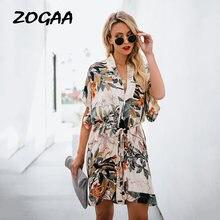 Женское Элегантное летнее платье zogaa с принтом листьев женское