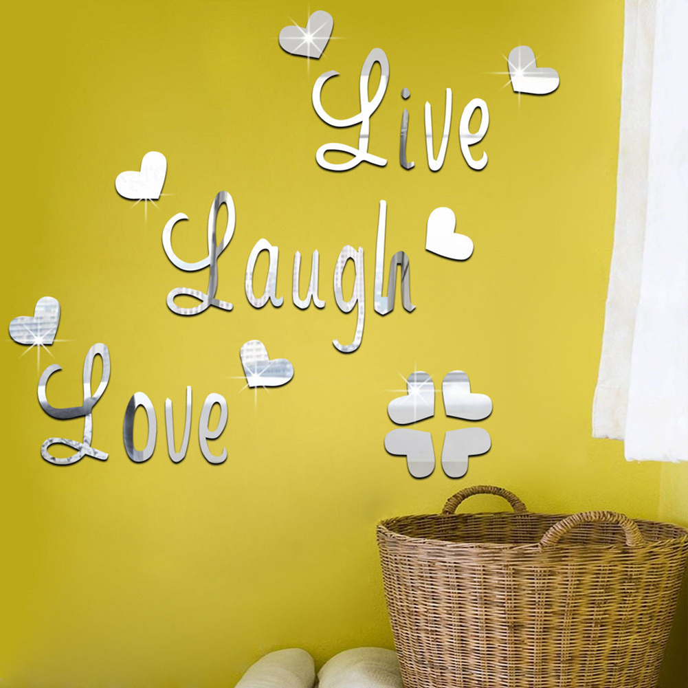 3D Mirror Stickers Love Laugh Letters Wall Art Decal Stickers Kids ...
