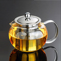 Apple Shape Glass Teapot Cambered Hyaline Stainless Steel Filter Resistant  Black & Puer Tea Sets Kettle Tea infuse 650ml-1300ml