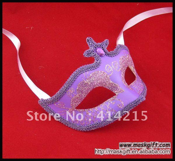 Популярная 6,5 дюймовая фиолетовая Венецианская маска с бусинами для маскарада Вечерние