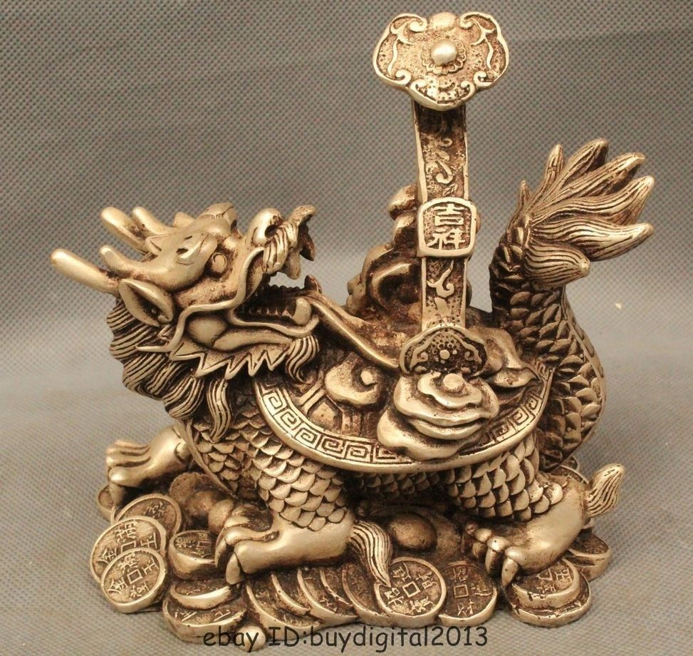 Lucky Chinese Fengshui Silver Money Coin Dragon Turtle tortoise Hold ...