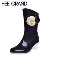 Rain Boots High Quality 2015 Floral Cute Ankle Boots Fashion Mid Calf Warm Waterproof Boots Water