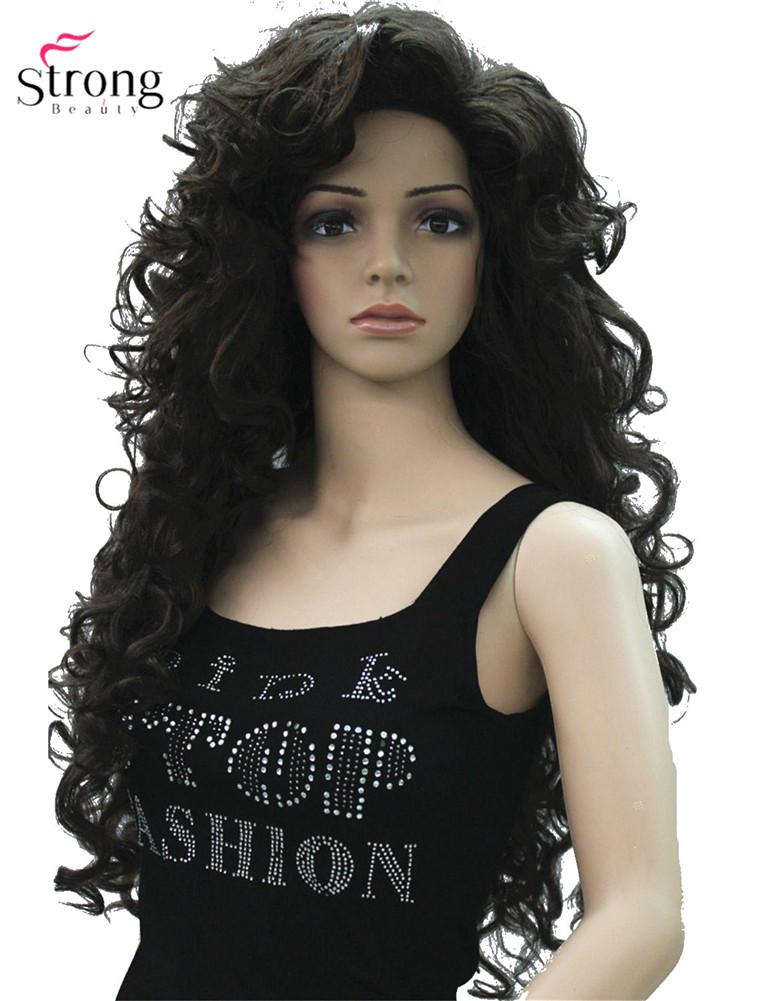 Long Layers Curls,no Part Full Synthetic Wig Dark Brown Wigs For Women Blonde For Choose