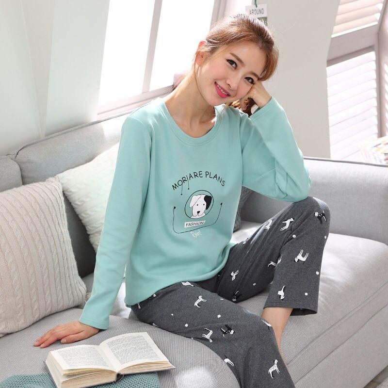 womens Pajamas Set Autumn Winter Thicken Cotton Pyjamas Women Cartoon Pijama Pattern Pajamas Set Thin Pijama Mujer Sleepwear