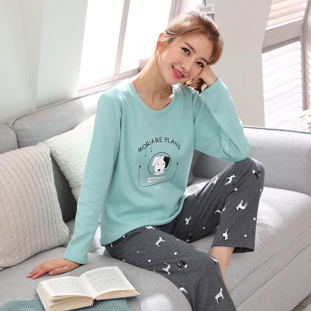 67882dedf41b womens Pajamas Set Autumn Winter Thicken Cotton Pyjamas Women Cartoon  Pijama Pattern Pajamas Set Thin Pijama Mujer Sleepwear
