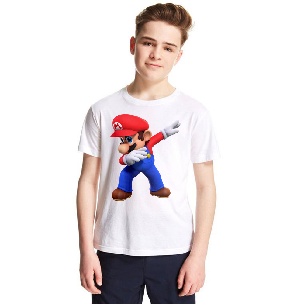 1-12Y Children Dabbing Super Mario Cartoon Design Tops Boys and Girls Game Casual T Shirt Kids T-Shirt Baby Summer Tops Tees kids cccp ussr gagarin print t shirt boys and girls the soviet union russia space design tops baby summer white t shirt hkp2437