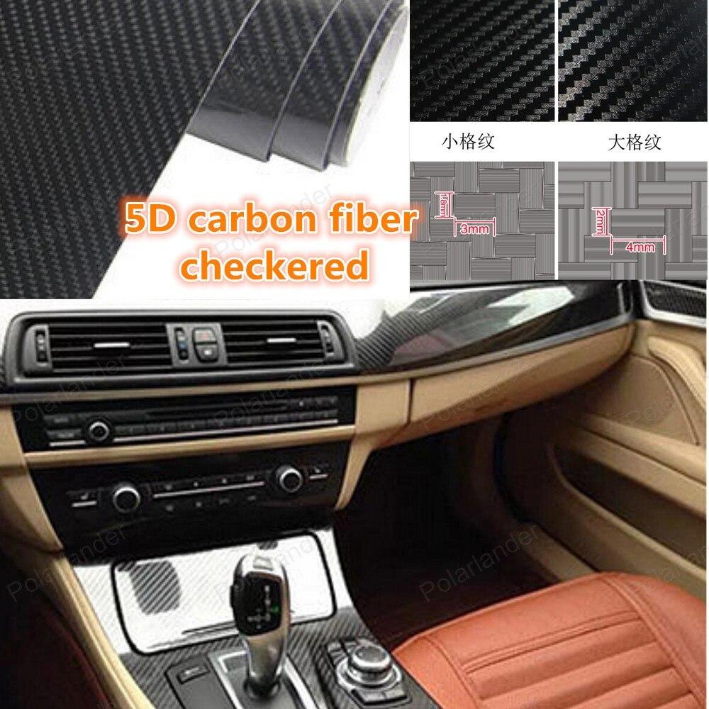 1.52X20 m/rouleau 5D Petit Plaid En Fiber De Carbone De Vinyle De Voiture De Style de voiture Autocollants De Voiture accessoires Adesivos