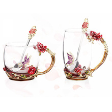 Red Rose Enamel Crystal Cup Flower Tea Glass High-grade Butterfly Water Mug Handle Single mug Gift F2