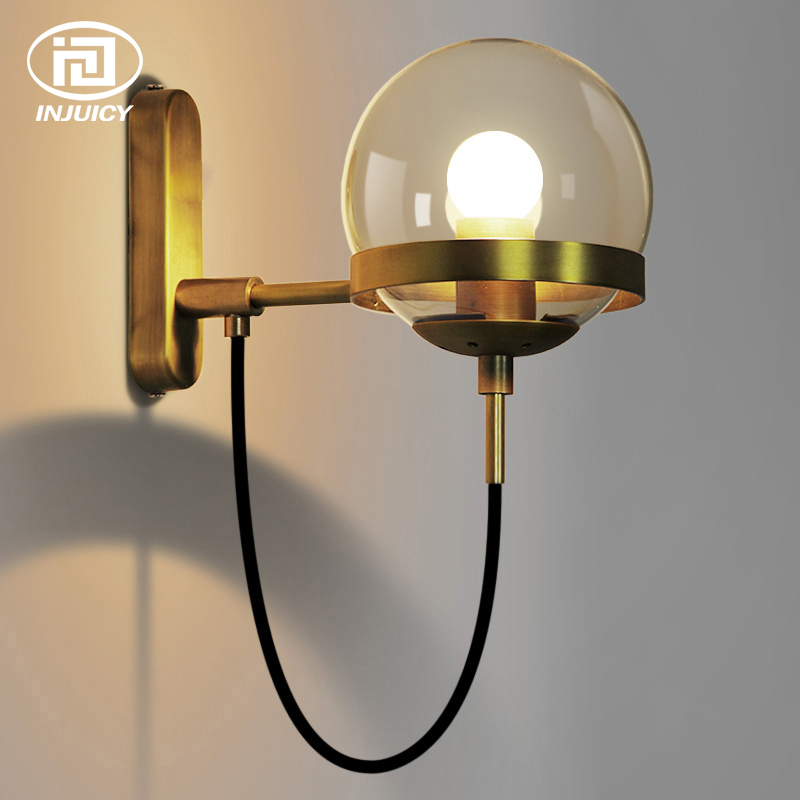Simple Vintage Wall Lights American Retro Cognac Glass Ball Circle Bronze LED Wall Lamp Hotel Restaurant Mirror Lights