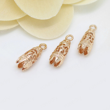 4PCS 19x7MM 24K Champagne Gold Color Plated Brass Long Bell Charms Pendants High Quality Diy Jewelry Accessories