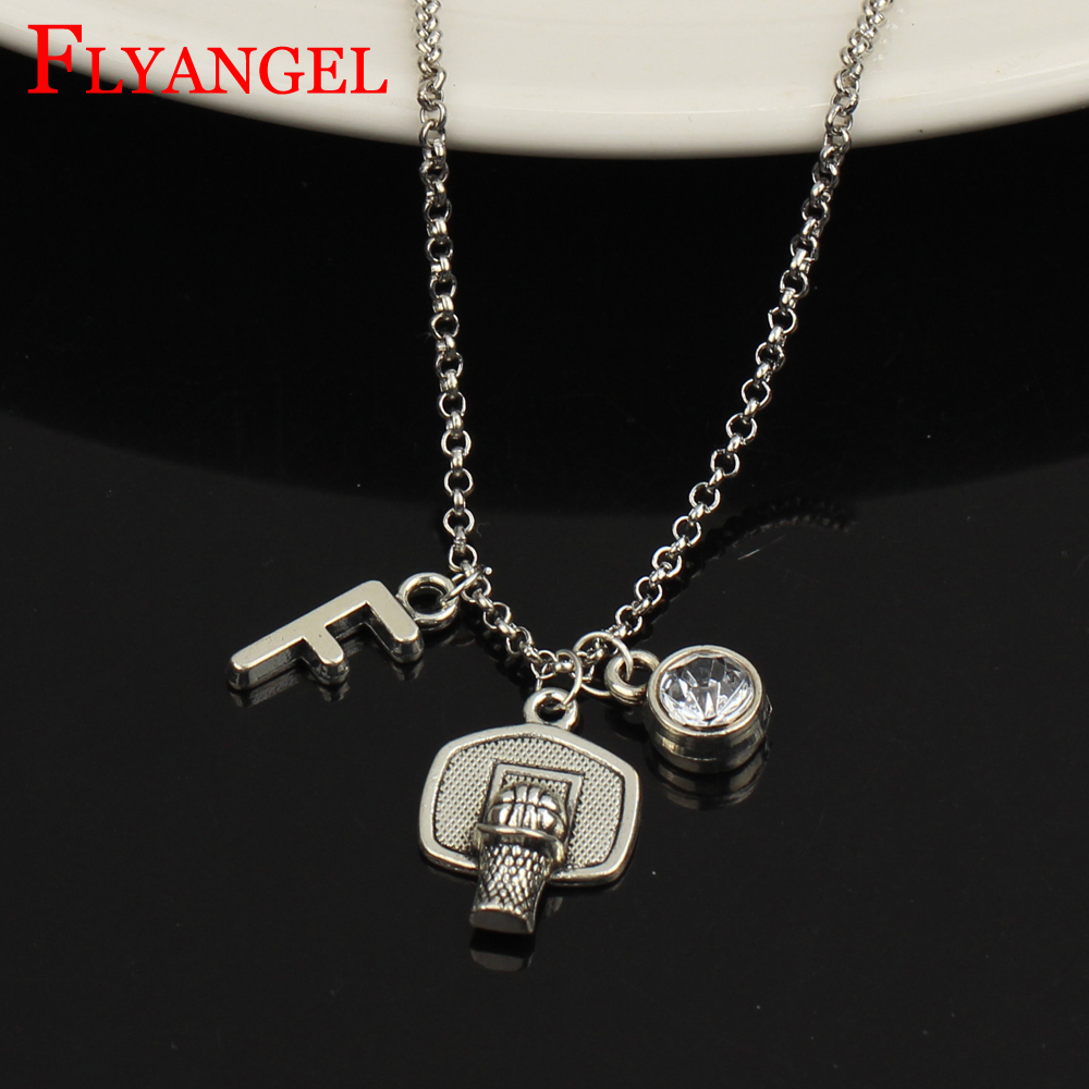 A-Z Initial Letter Basketball Hoop Alloy Fashion Jewelry 12 Months Birthstone Crystal Men Women Pendant Necklace Ball Fans Gift