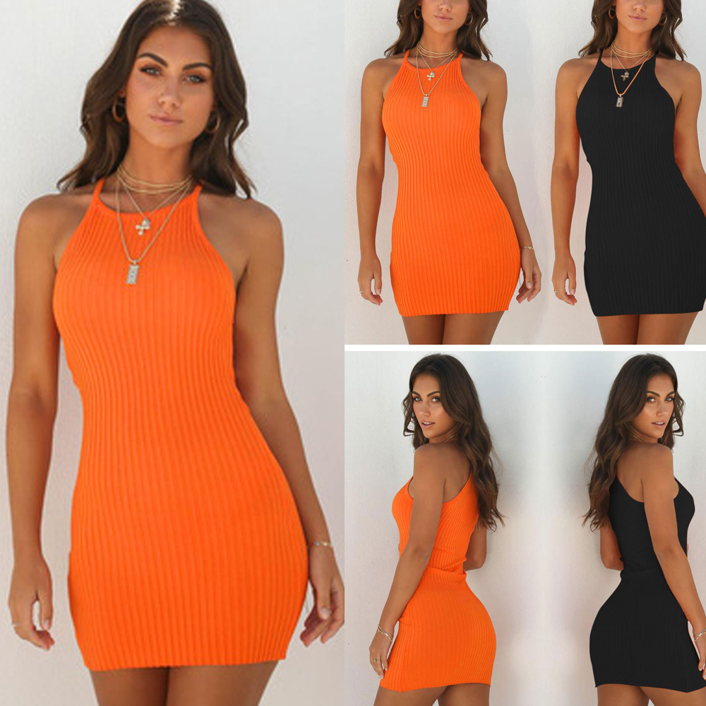 New Women's Ladies Dresses Sexy Summer Sleeveless Tank Slim Mini Short Knitted Bodycon SunDress Orange Black