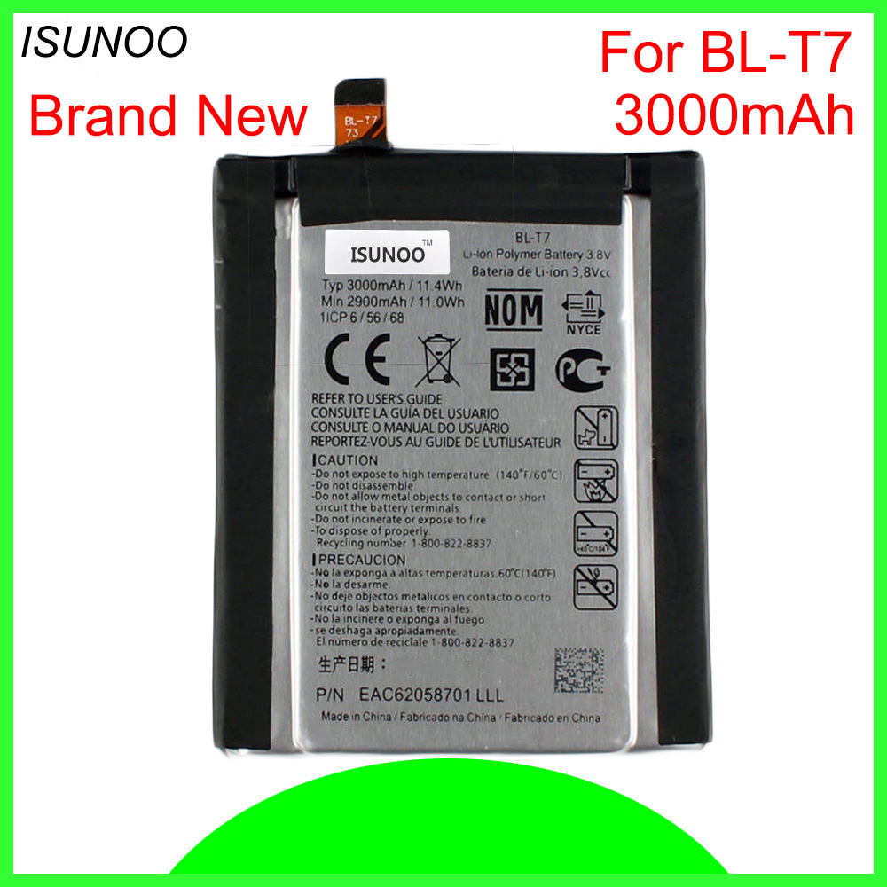 ISUNOO 10pcs/lot 3000mAh BLT7 <font><b>BL</b></font>-<font><b>T7</b></font> Battery for <font><b>LG</b></font> G2 D800 D801 D802 LS980 VS980 Battery image