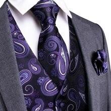 a7af3d72a1072 DiBanGu violet Paisley classique de mariage hommes 100% gilet de soie gilet  cravates Hanky boutons