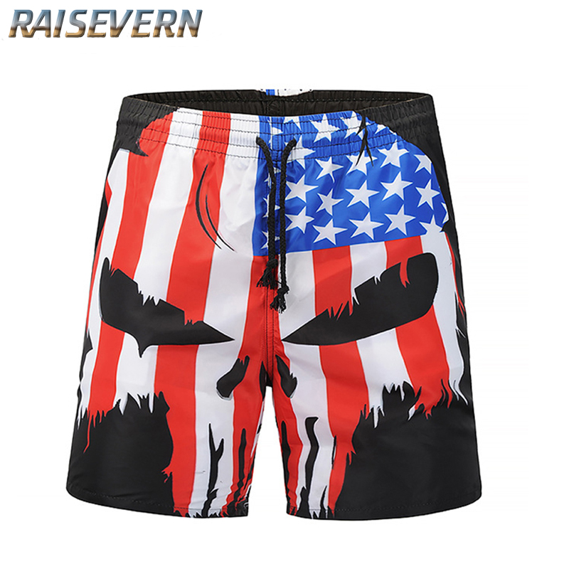 RAISEVERN 2018 Summer New Mens Trousers 3D US Flag Skull Print Beach Short Pants Casual Tide Brand Mens Clothing
