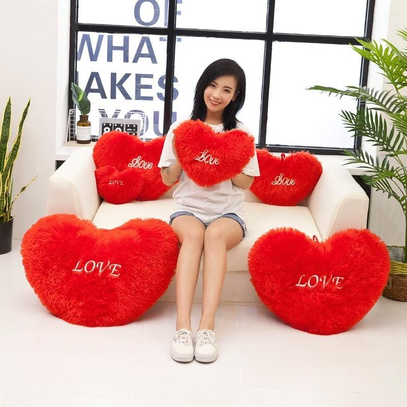 Fashion Design 25/30/40/50/60/70cm Heart Shape Decorative Throw Pillow PP Cotton Soft Creative Doll Lover Gift For Wedding Valen