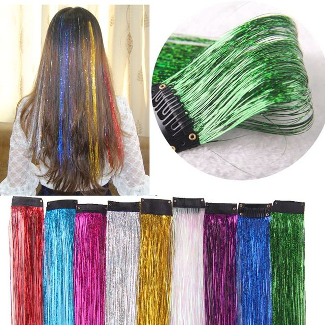 Hot Clips On Tinsel Hair Extension 10colors 45cm Sparkle Glitter